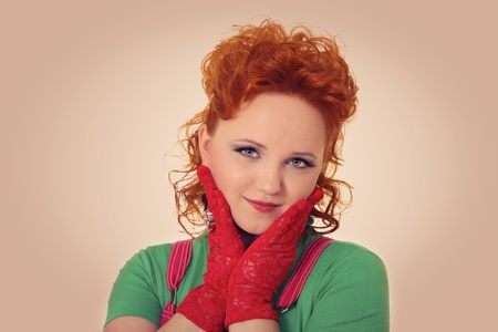 portrait of a young woman with red hair and glamour make up Stock Photo - 17134512