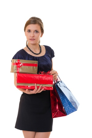 Attractive business woman with many gift boxes and bags. Stock Photo - 17370186