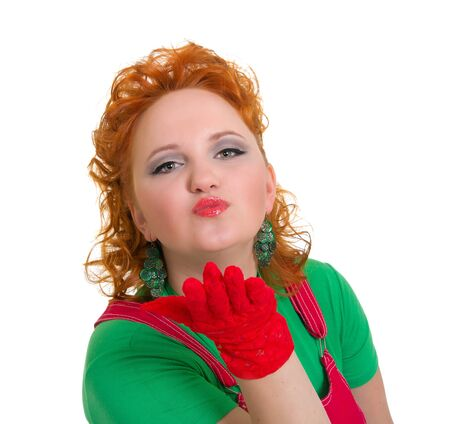 Beautiful curly pinup girl blowing a kiss Stock Photo - 17500751
