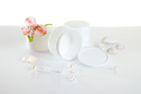 White empty cream jars on white background Stock Photo - 17710023