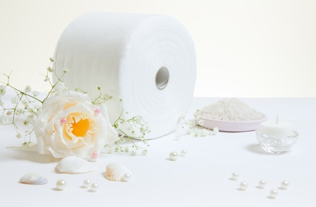 Toilet paper roll with rose, pearls and seashells Stock Photo