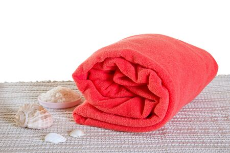 bedcover: Red big spa towel or blanket with seashells