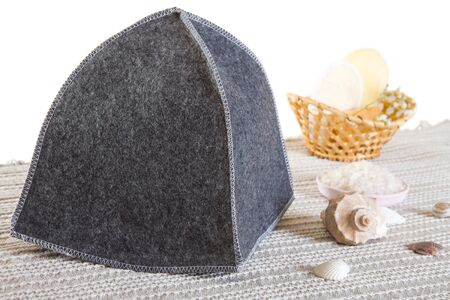 Sauna set - woolen hat, salt and soap bar photo