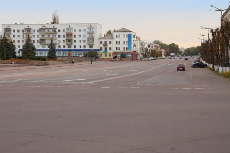 Empty wide city street in Korosten, Ukraine photo