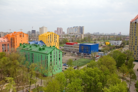 Aerial view on colorful residential buildings. Real estate and housing in Kyiv, Ukraine. photo