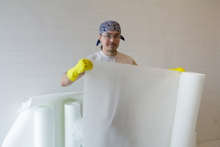 Young man - worker holding white wallpaper roll Stock Photo - 19628228
