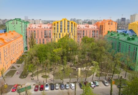 Aerial view on colorful residential buildings. Real estate and housing in Kyiv, Ukraine photo