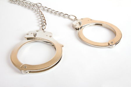 sex toy: Handcuffs isolated on white background  Sex toy