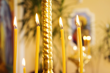 Close up of candles in Russian orthodox Church
