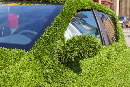 Ecological car covered with a green grass photo