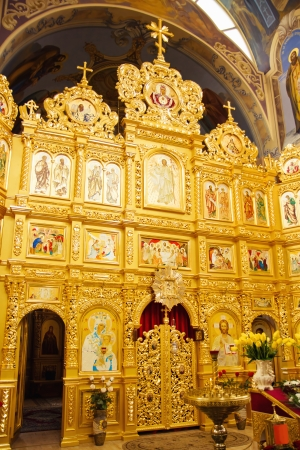 iconostasis  in small orthodox church. Ukraine Stock Photo