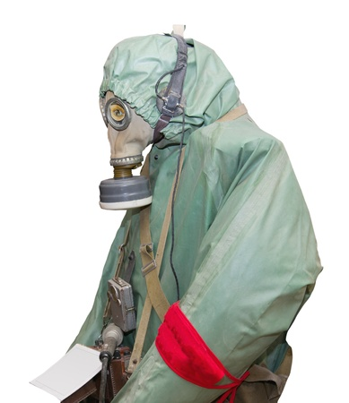 chemical warfare: Protective military chemical warfare suit isolated on white background.