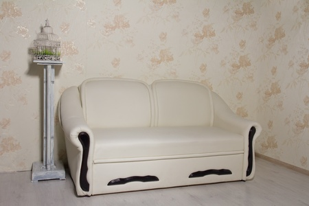New beige leather sofa and vintage table with grass in a cage in empty room photo