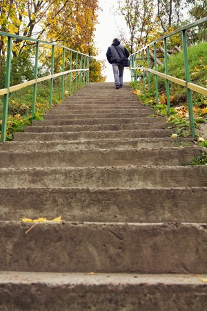 Rear view of a man walking up staircase in autumn forest photo