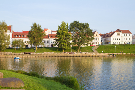 svisloch: Downtown - historical center of Minsk across Svisloch river, Belarus