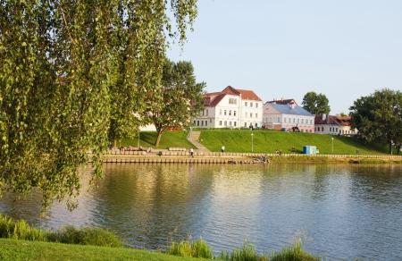 Downtown - historical center of Minsk across Svisloch river, Belarus Stock Photo - 24509246