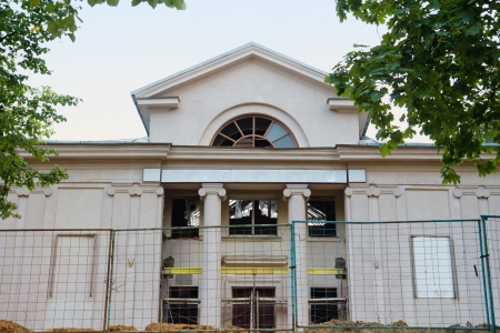 old destroyed cinema building with columns in downtown of Minsk, Belarus Stock Photo - 24509299
