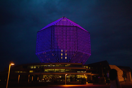 Night illumination lights of modern library building in Minsk, Belarus