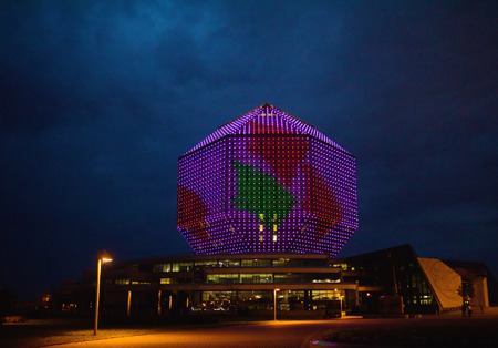 MINSK, BELARUS - SEPTEMBER 01  Night illumination lights of modern library building on September 01, 2012 in Minsk, Belarus