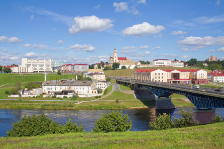 Panoramic view of bridge, theater, plant and church in Grodno, Belarus