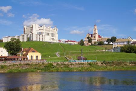belarus: Panoramic view Grogno city and Neman river. Grodno, Belarus