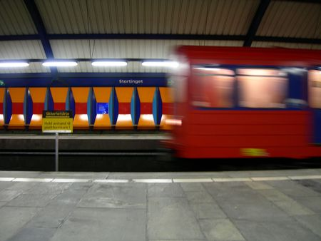 oslo: Nationalteateret station in Oslo. Stock Photo