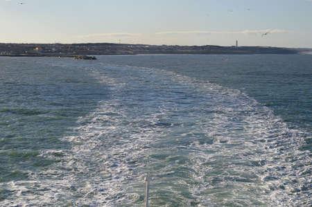 Ship leaving Hirtshals in Denmark