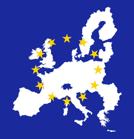 European union map withe flags Vector