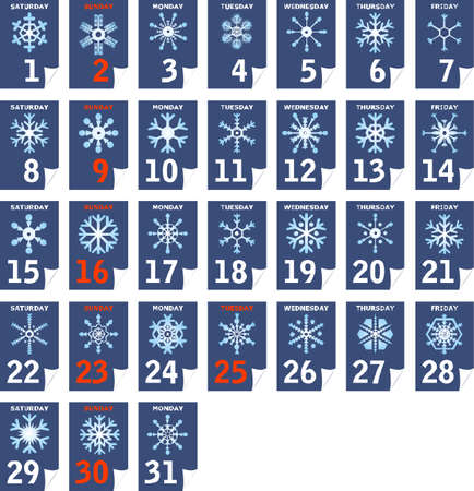 separable: Each day different snowflake calendar, December (separable)