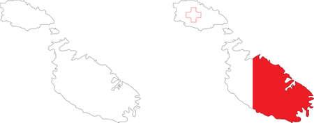 maltese map: Malta flag