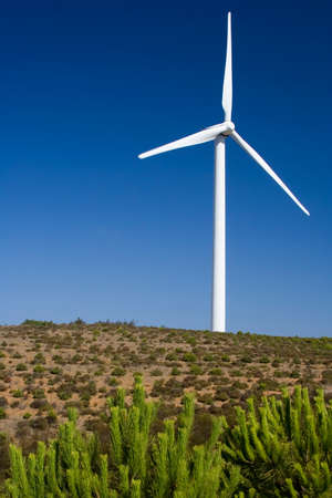 Wind turbine standing in the savanna in western Algarve, Portugal. Stock Photo