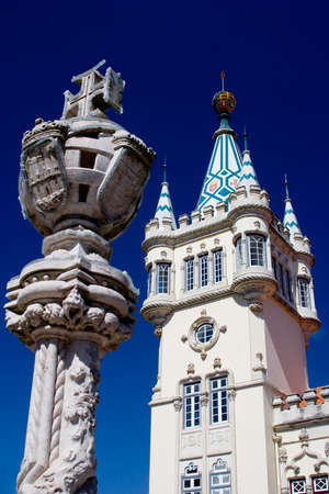recognised: View of the city hall building of Sintra, Portugal.  Dating from 1906, it forms part of the Cultural Landscape of Sintra, recognised as an UNESCO World Heritage Site. Stock Photo