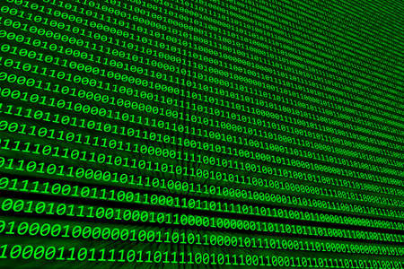 Abstract background of binary code illuminated on a green computer screen