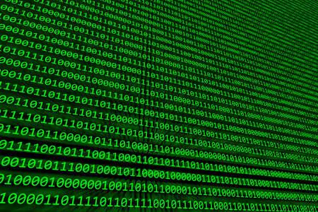 codigo binario: Resumen de antecedentes de c�digo binario de iluminaci�n sobre una pantalla de computadora verde Foto de archivo
