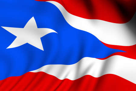 Rendering of a waving flag of Puerto Rico with accurate colors and design and a fabric texture.