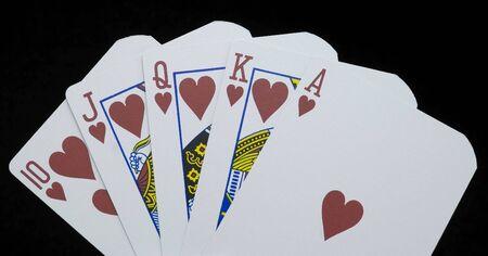 Royal Flush poker hand, suit of hearts. Stok Fotoğraf