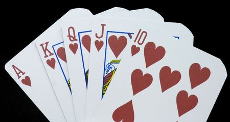 Royal Flush poker hand, suit of hearts