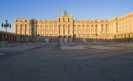 The Palacio Real de Madrid (Royal Palace of Madrid), in Madrid, Spain is the official residence of the King of Spain.  Picture with the late afternoon sun.