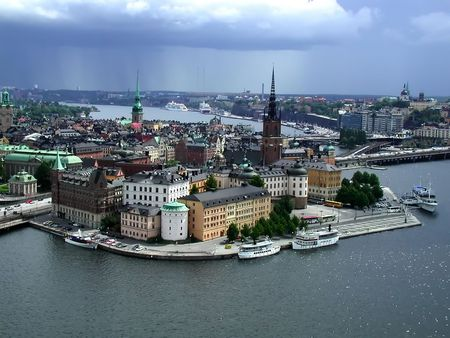 View of the Old Town (Gamla Stan) and Riddarholmen (The Knights Islet) in Stockholm, Sweden.  Taken from the Town Hall (Stadshuset) with a storm approaching.