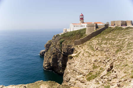 Cape of St. Vincent (Cabo de São Vicente) is the southwesternmost point of Europe.  Located in the Algarve, Portugal near Sagres, it is a landmark for any ship travelling to or from the Mediterannean. The cliffs rise from the Atlantic to a height of 75m. Imagens