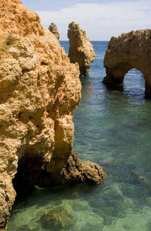 Rock formations at Ponta da Piedade, near Lagos, Portugal in the Algarve. 版權商用圖片