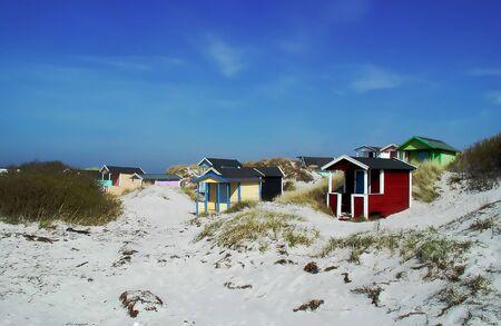 Colorful summer beach huts located in Scania (Skåne), Sweden