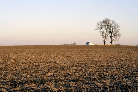 Farmland in the Midwest USA in Logan Country near Lincoln, Illinois, late autumn after the harvest