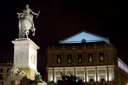 View of the Teatro Real and monument at the Plaza de Oriente in Madrid, Spain Stock Photo