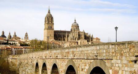 View of Salamanca from the Roman bridge. Reklamní fotografie