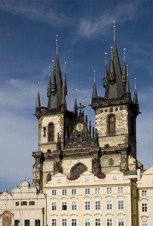 View of the Church of Our Lady in front of Tyn in Prague from the Old Town Square.  Present gothic church dates from the 14th century.