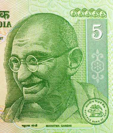 Close-up of five Indian rupees banknote.  Featuring Mahatma Gandhi. Stock Photo - 955831