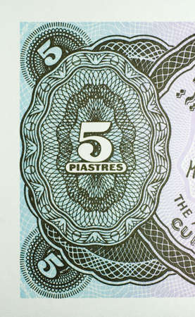 Close-up of five Egyptian piastres banknote isolated on a white background.