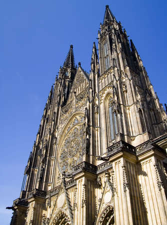 St. Vitus Cathedral in Prague, Czech Republic.  Dates back to the year 1344. 版權商用圖片