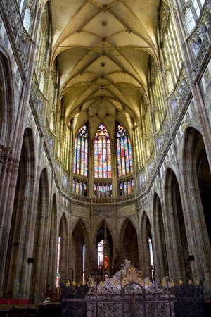 Interior of St. Vitus Cathedral in Prague, Czech Republic.  Dates back to the year 1344.